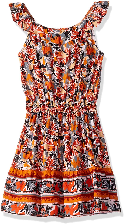 Maaji Girls' Printed with Elastic Waist and Ruffle Trim Dress