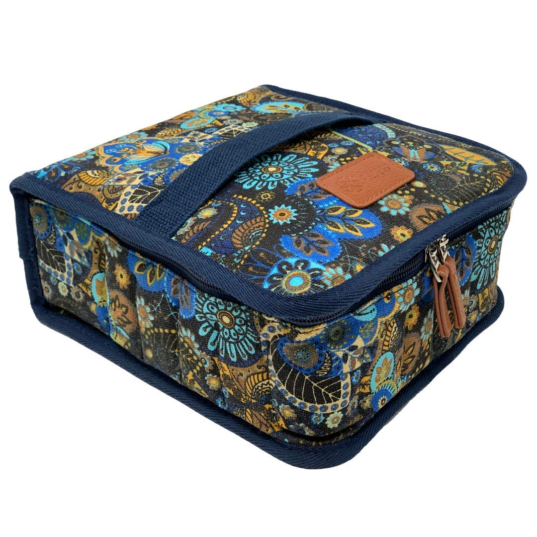 42-Bottle Essential Oil Carrying Case (5ml,10ml,15ml) with Plush Velvet Interior for doTERRA, Young Living Bottles for Aromatherapy Travel or Storage (Azul)