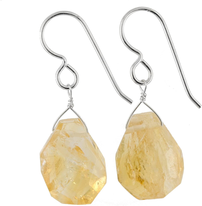 ASHANTI Citrine Natural Gemstone Sterling Silver Handmade Earrings