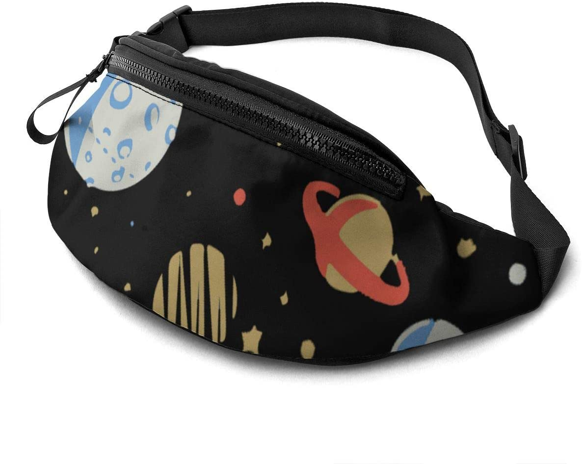 star planet universe Fanny Pack for Men Women Waist Pack Bag with Headphone Jack and Zipper Pockets Adjustable Straps