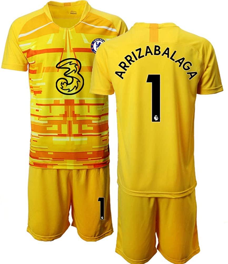WEIFENG Kids 20/21 ARRIZABALAGA 1# Soccer Jersey T-Shirt and Sports Shorts Suit -Yellow