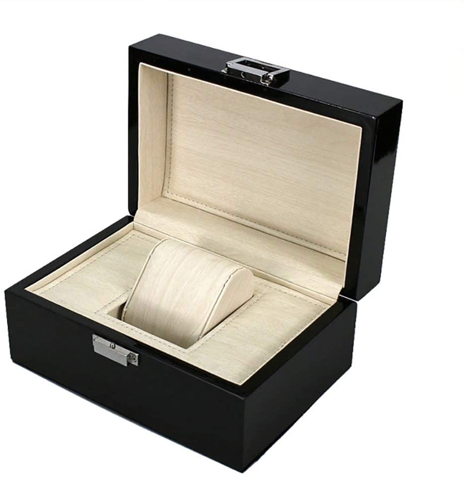 TOPYL Upgraded Watch Box Watch Case Jewellery Box Organizer Holder Jewelry Display Case Storage Earrings Lockable with Pu Leather for Men Women Black