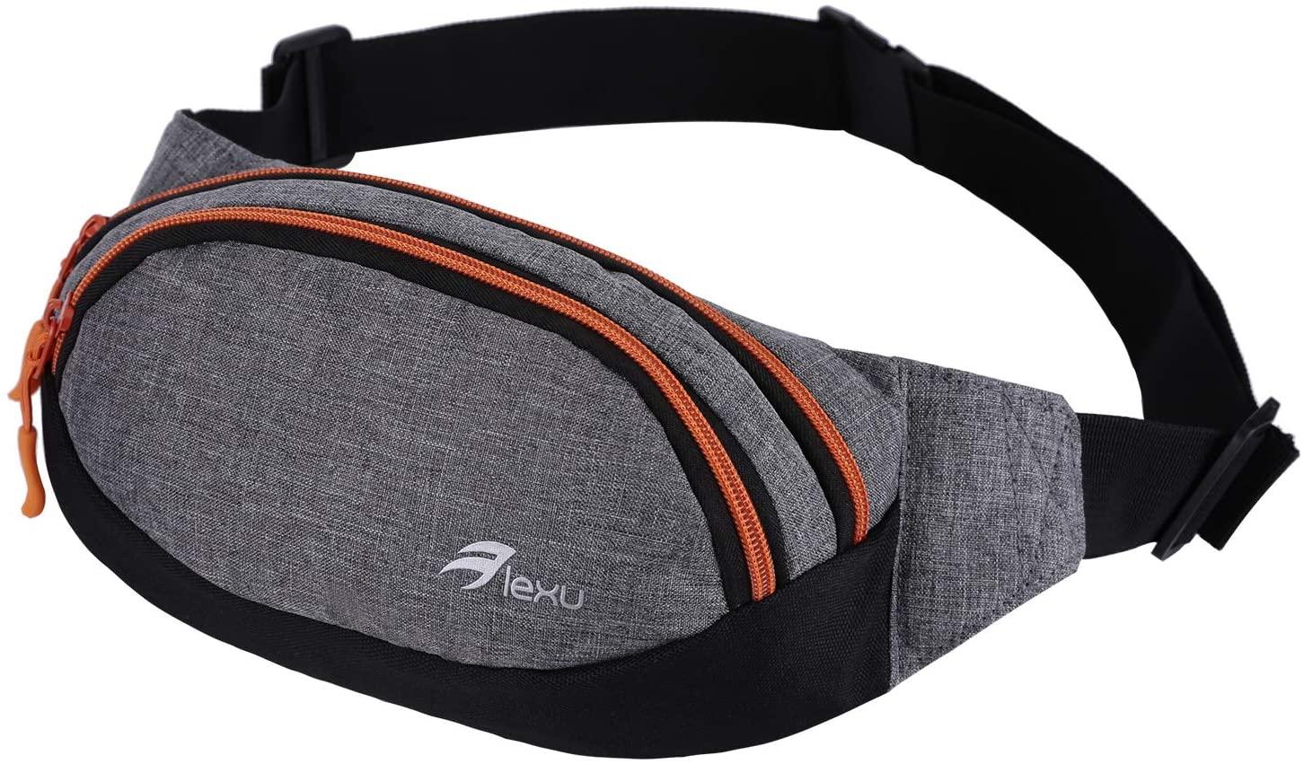 LEXU Travel Fanny Bag Slim Soft Polyester Waist Pack Resistant Tool Pocket Cashier's box For Man Women (Grey Orange)