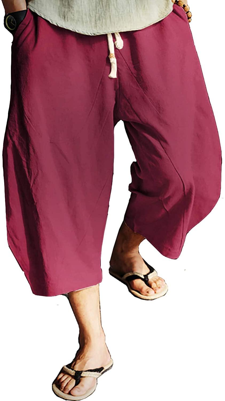 N/ A VERLASS Men's Casual Wide Leg Pants Baggy Linen Cotton Harem Breathable Lounge 3/4 Long Shorts