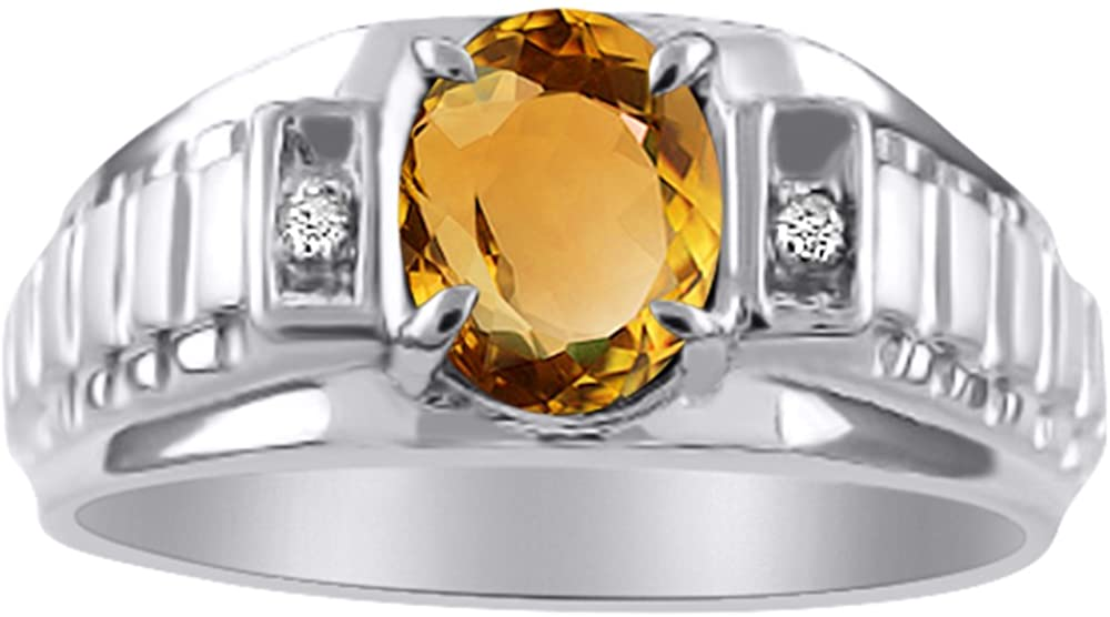 Diamond & Citrine Ring Sterling Silver or Yellow Gold Plated Role X Design