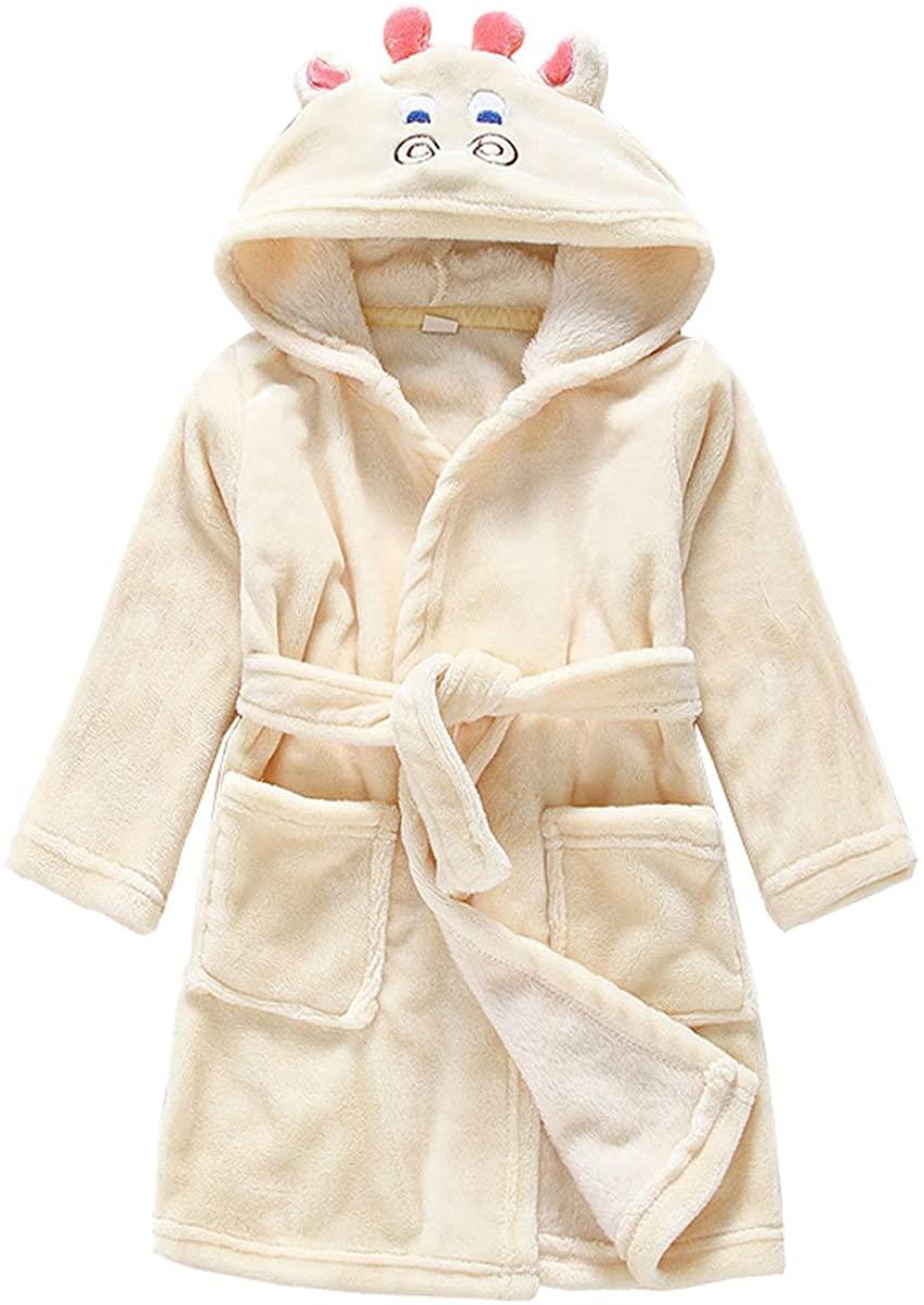LANMWORN Unisex Kids Cartoon Soft Bathrobe Pajamas Hooded Sleepwear,Boys Girls Cute Animal Shape Homewear Nightgown.