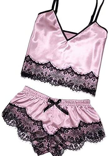 Fashion Vixen Women's Sexy Satin Sling Sleepwear Lingerie - Beige, S