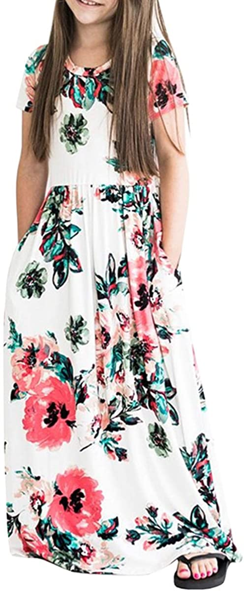 Fashspo Girl's Summer Maxi Dress Short Sleeve Floral Casual Printed Empire Waist Long Party Dress with Pockets 2-10T