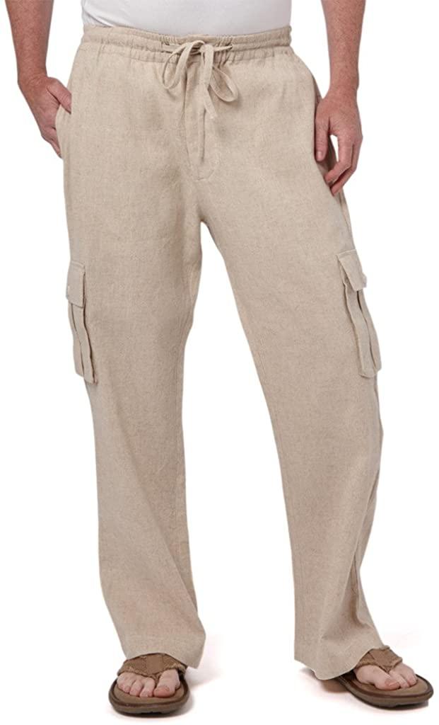 Liash Mens Drawstring Cargo Pants - Men's Linen Pants for Wedding - Lightweight Linen Pants Big