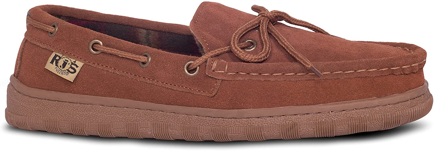 RJs Fuzzies Mens Unlined Driving Moccasins in Wheat with Real Cowhide Suede