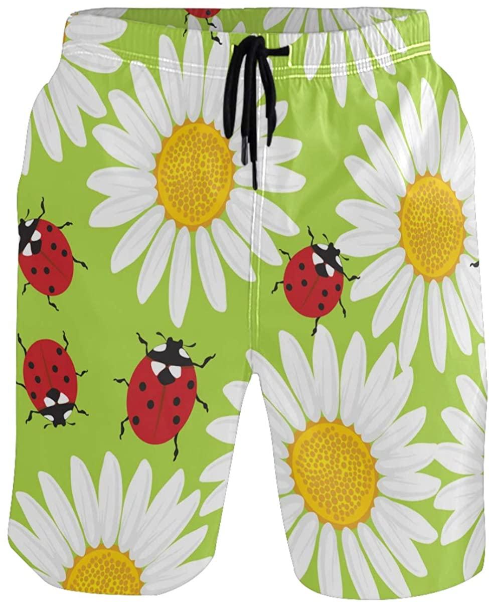 RunningBear Men's Swim Trunks - Flowers Chamomile Ladybugs Beach Short Men Quick Dry Short