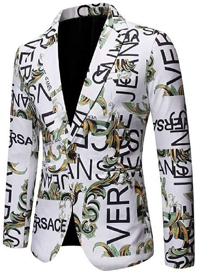 Men Blazer Jackets Printing Slim Casual One Button Suit Blazer Coat Jacket