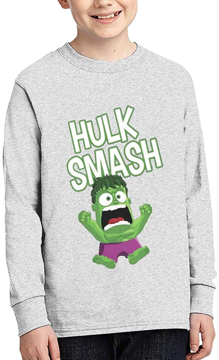 Boy Girl Teen Long Sleeve T-Shirt Out Hulk Smash Exquisite Fashion Creation Gray
