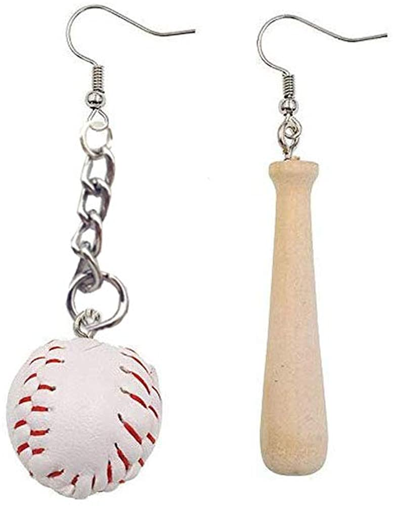 BAUNA Baseball Earrings 3D Baseball Pendant Dangle Earrings Asymmetric Earrings Jewelry for Sport Lover Baseball Games leather teardrop earrings Gifts