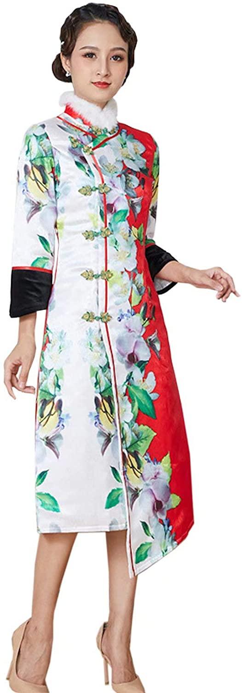 HangErFeng Qipao Autumn and Winter Women Silk Chinese Printed Addition Cotton Cheongsam New Year Rabbit Hair Dress