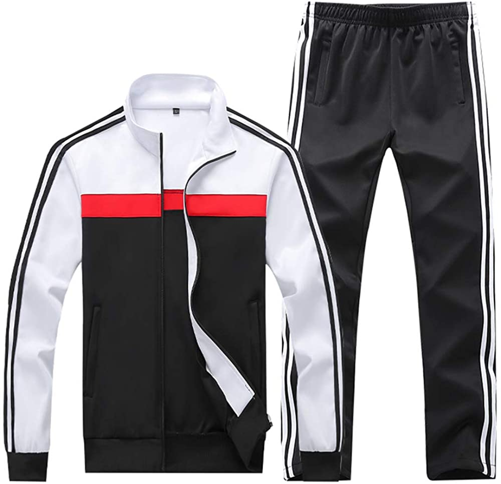Mens Athletic 2 Piece Sports Set Full Zip Long Sleeve Casual Tracksuit Sets