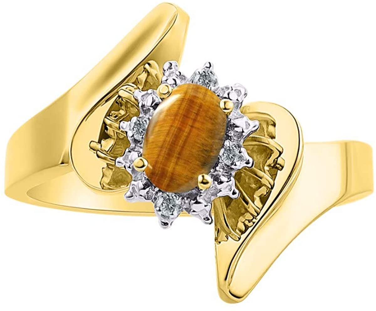RYLOS Ladies Ring with Oval Shape Gemstone & Genuine Sparkling Diamonds in 14K Yellow Gold Plated Silver .925-6X4MM Color Stone - Birthstone Rings