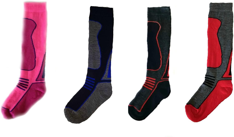 Childrens Thermal Ski Socks, Boys and Girls High Performance Winter Sport Socks- 4 Pack