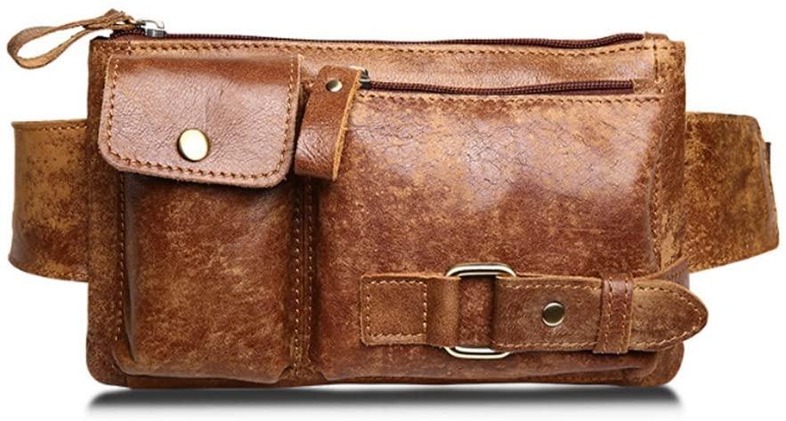 Jonon Unisex Brown Genuine Leather Waist Bag Messenger Fanny Pack Bum Sling Bag for Men Women Travel Sports Running Hiking