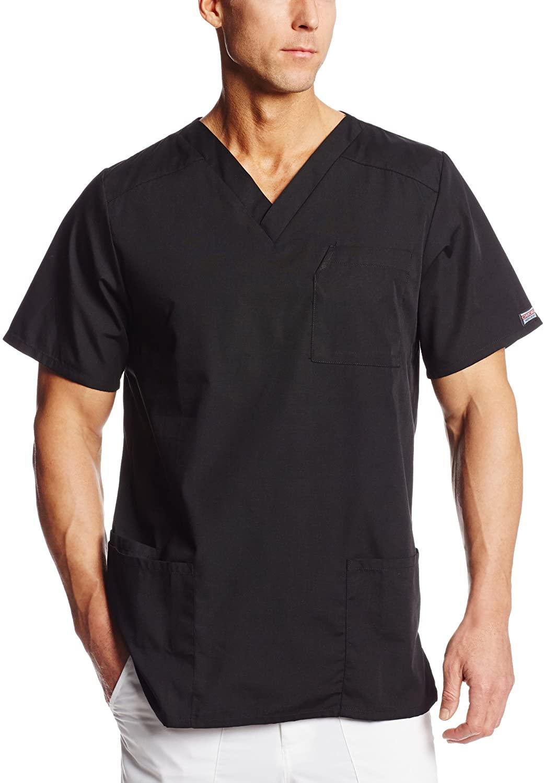 Cherokee Workwear Scrubs Tall Unisex V-neck Top, Black, Small/Tall