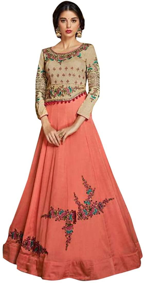 Stylish Evening Party wear Heavy Soft Silk Georgette Anarkali Salwar Suit Indian Women dress Semi-stitch 8483