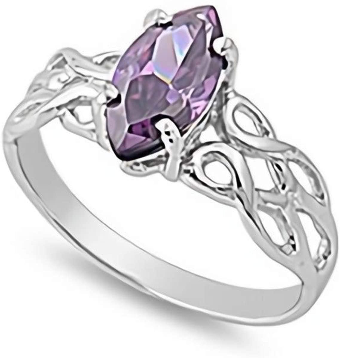 Glitzs Jewels 925 Sterling Silver CZ Ring (purple/Celtic)   Cubic Zirconia Jewelry Gift