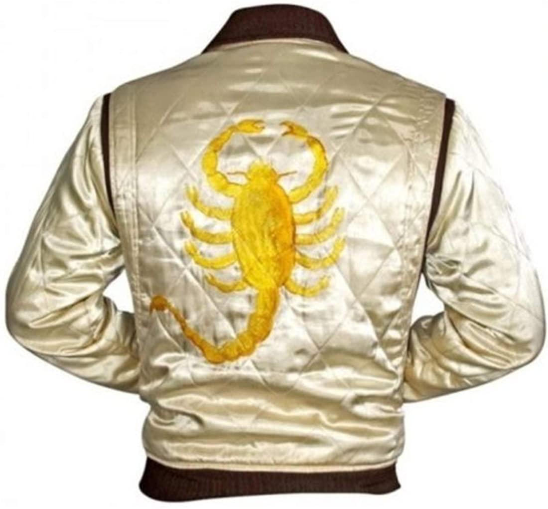 Mens Slim Fit Drive Biker Rider Trucker Hot Ryan Gosling Jacket Embroidered Scorpion