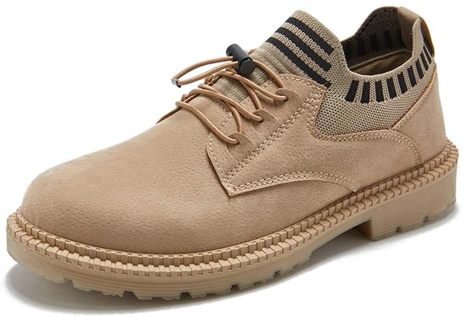 HONGkeke Men's Winter Low-top Work Boots for Men Lace-up Ankle Boot Derby Shoes Synthetic Leather Antislip Rubber Outsole Round Toe Durable Fashion (Color : Beige, Size : 10 M US)