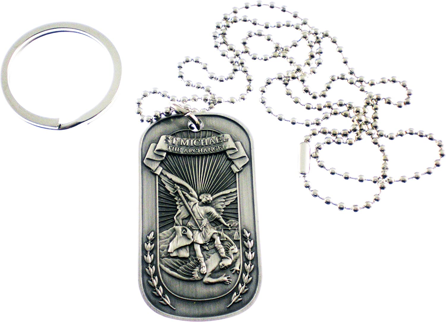 Christian Christ Religion Jesus St Michael Archangel Double Sided Pewter Logo Symbols - All Metal Military Dog Tag Luggage Tag Key Chain Metal Chain Necklace