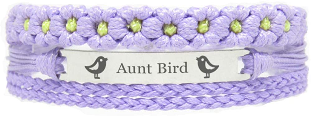 Miiras Family Engraved Handmade Bracelet - Aunt Bird - Purple FL - Made of Braided Rope and Stainless Steel - Gift for Aunt