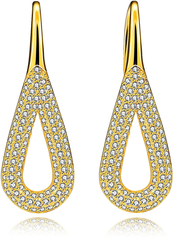 Uloveido Unique Big Hollow Teardrop Earrings Vintage Geometric Shape Stud Drop Long Earrings for Women Y562