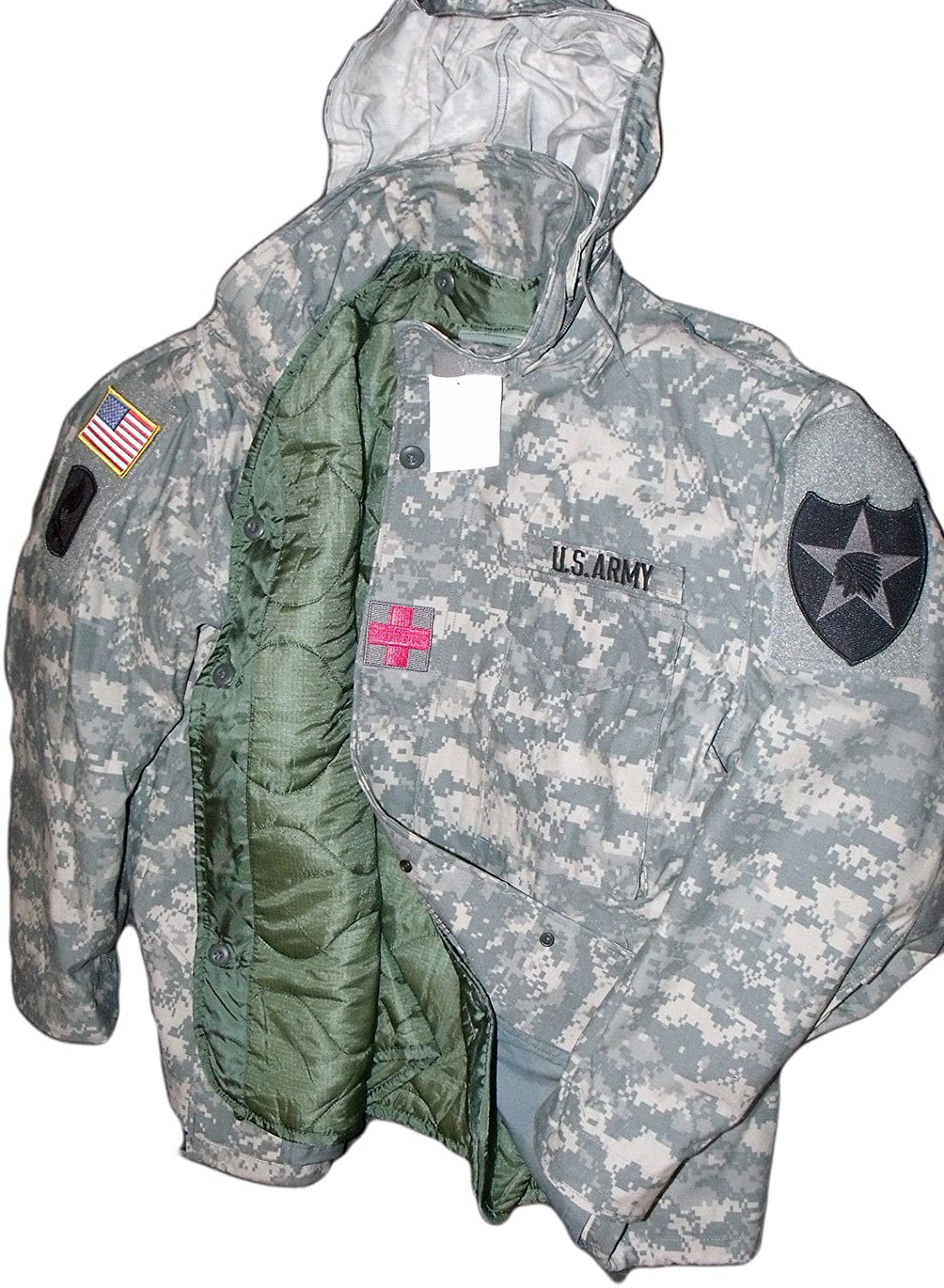 New Made in US Genuine Issue GI Military Army M-65 ACU Cold Weather Field Coat Jacket + Liner + Patches