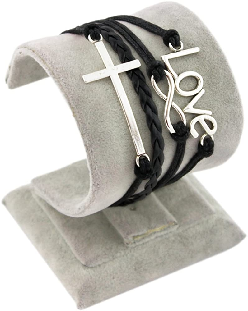 Soyagift Handmade Infinity Cross Letters Love charms Leather Braid Rope Bracelet