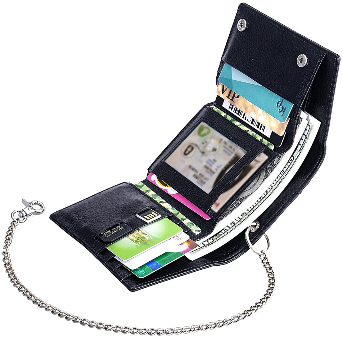 ManChDa Multiple Trifold Wallet -Slits Black Small Size Leather RFID Blocking with one Removable Chain