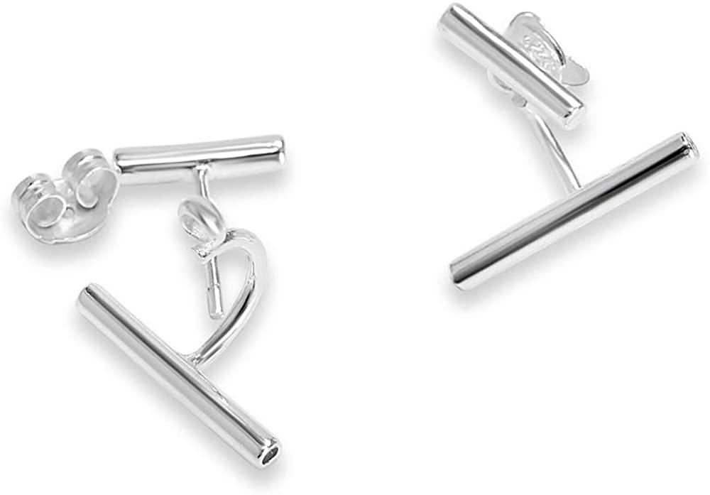 925 Solid Sterling Silver Tiny Ear Climber Bar Stud Earrings - Mini Ear Wrap Minimalist Unisex Jewelry