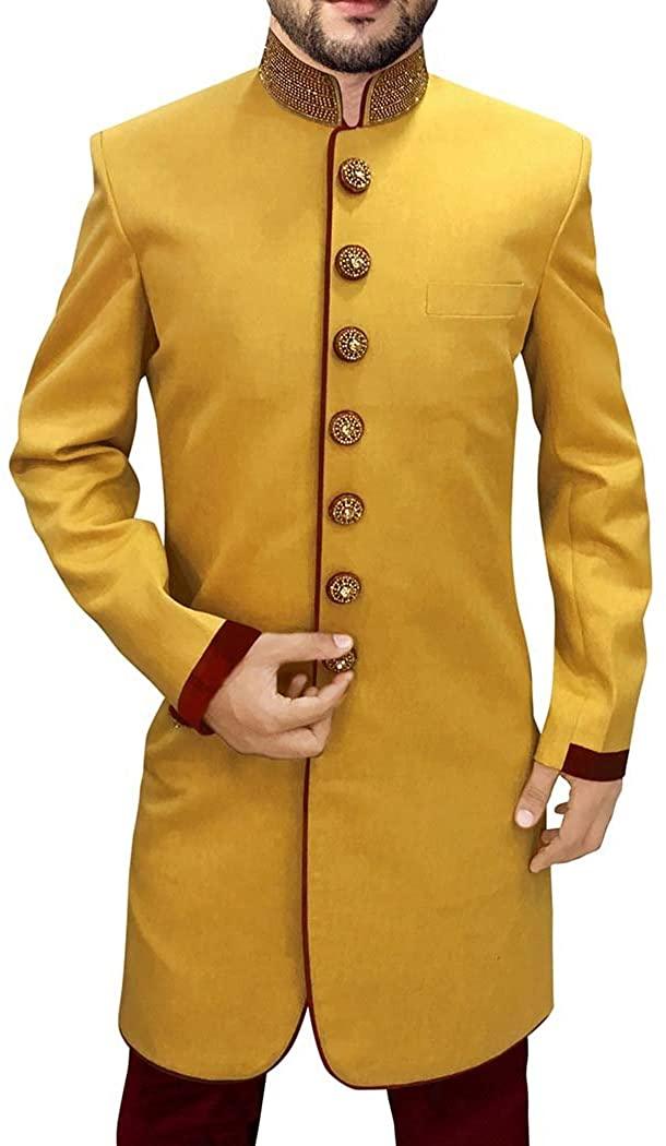 INMONARCH Mens Wedding Sherwani Yellow Indian Sherwani Indowestern Embroidered IN0584