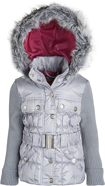 Urban Republic Little Girls Faux Down Hooded Ribbed Sleeve Winter Puffer Jacket