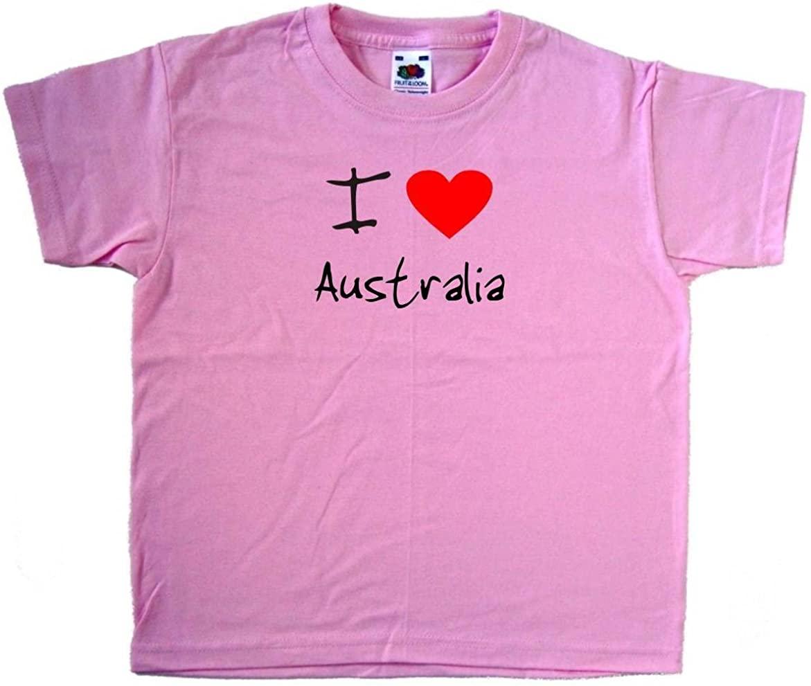 I Love Heart Australia Pink Kids T-Shirt