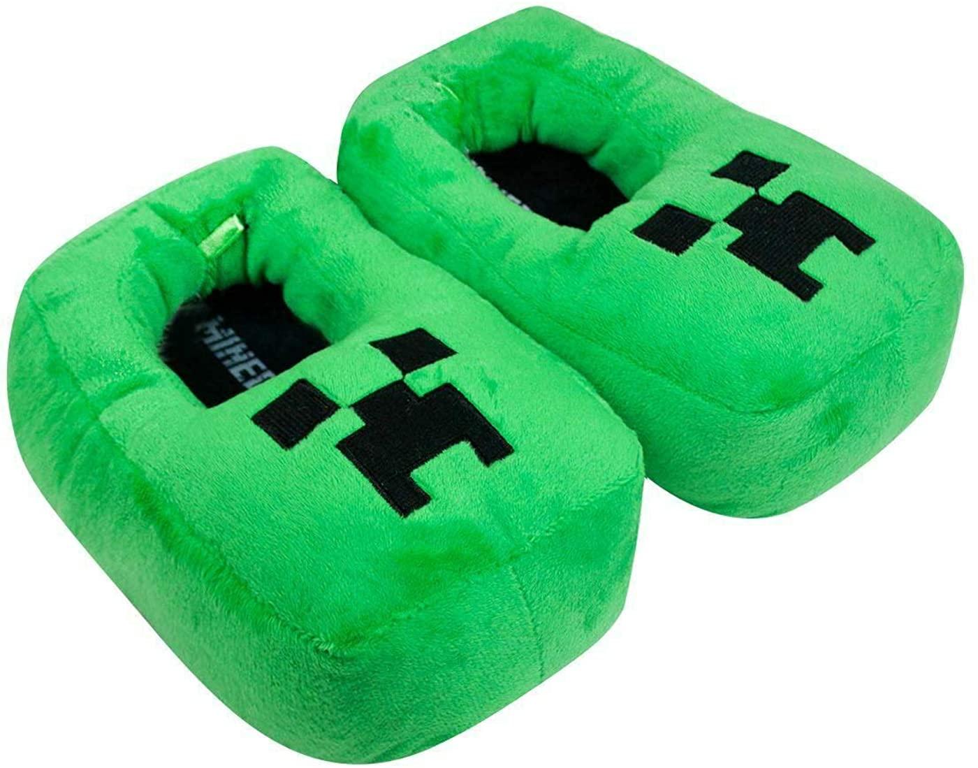 Official Minecraft Creeper Kids/Boy's 3D Slipper (2-3) Green