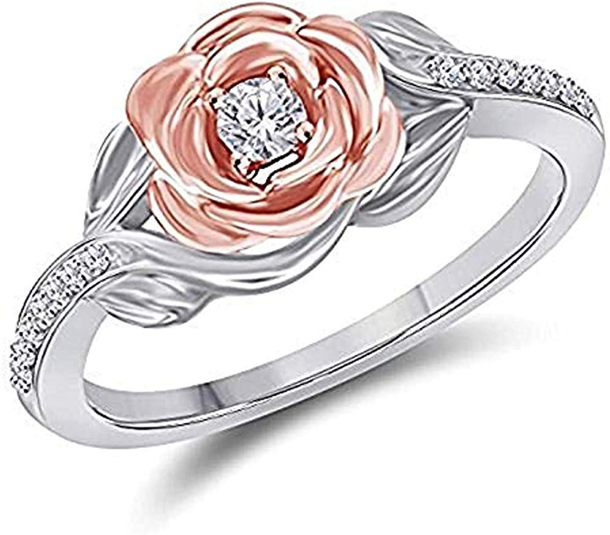 Lovely 0.35 ctw Belles 14k Two Tone Gold Over .925 Sterling Silver Cubic Zirconia Fashion Ring-Flower Ring