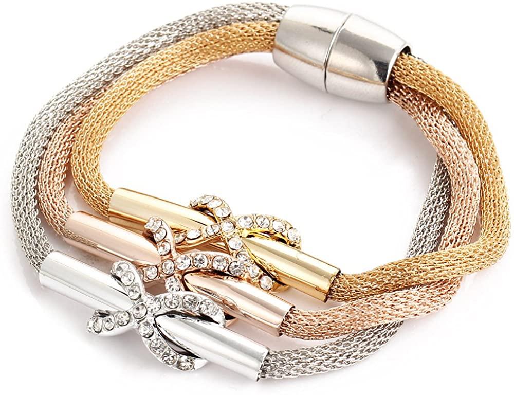 MIXIA Charming Wide Brazilian Magnetic Wrap Bracelet Design Elegant Weave Cross Hollow Braided Net Bracelet for Women Girls