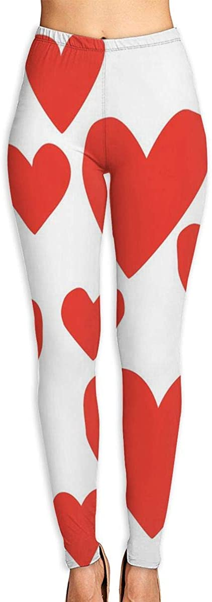 GUAHUAXIANG RED Hearts Women's Funny Print Yoga Leggings Pants Sport Capri Leggings Workout Pants Gym Tights WhiteX-Large
