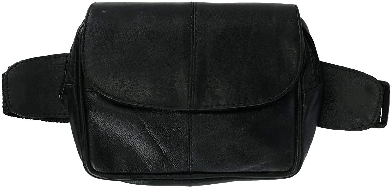 CTM Leather Flap Front Waist Pack Belt Bag with Snap Closure, Black