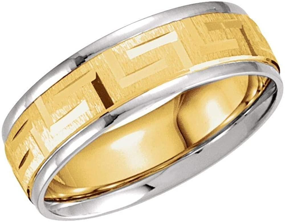 Bonyak Jewelry 14k White Gold & Yellow 7mm Greek Key Pattern Band - Size 9.5