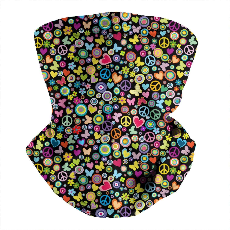 Unisex Neck Face Covers Peace-rainbow-flowers- Outdoors Multipurpose Headwrap Bike School