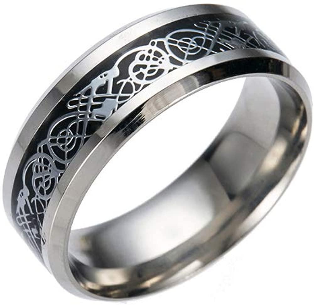Wollet Dragon 8mm Mens Celtic Dragon Tungsten Carbide Wedding Band Ring