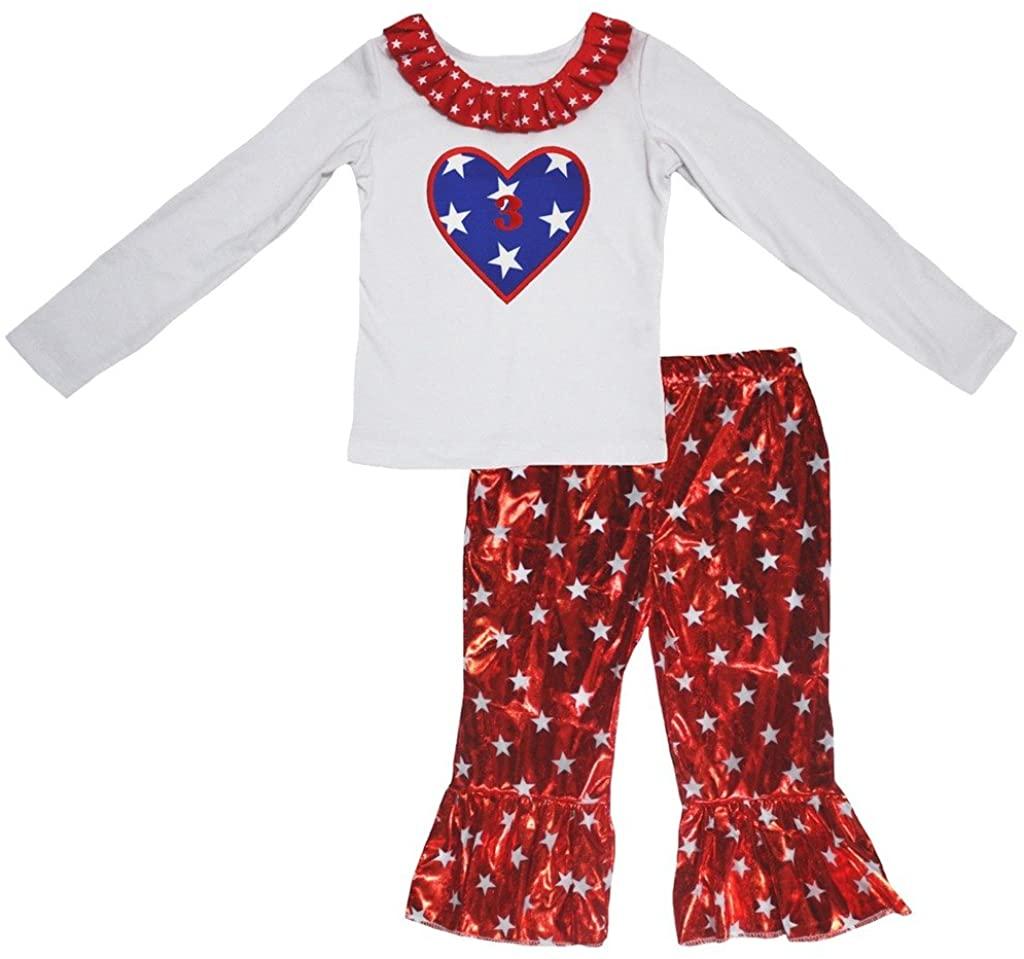 Petitebella Stars Heart 3 White Cotton L/s Shirt Red Stars Shiny Pant Set 1-8y