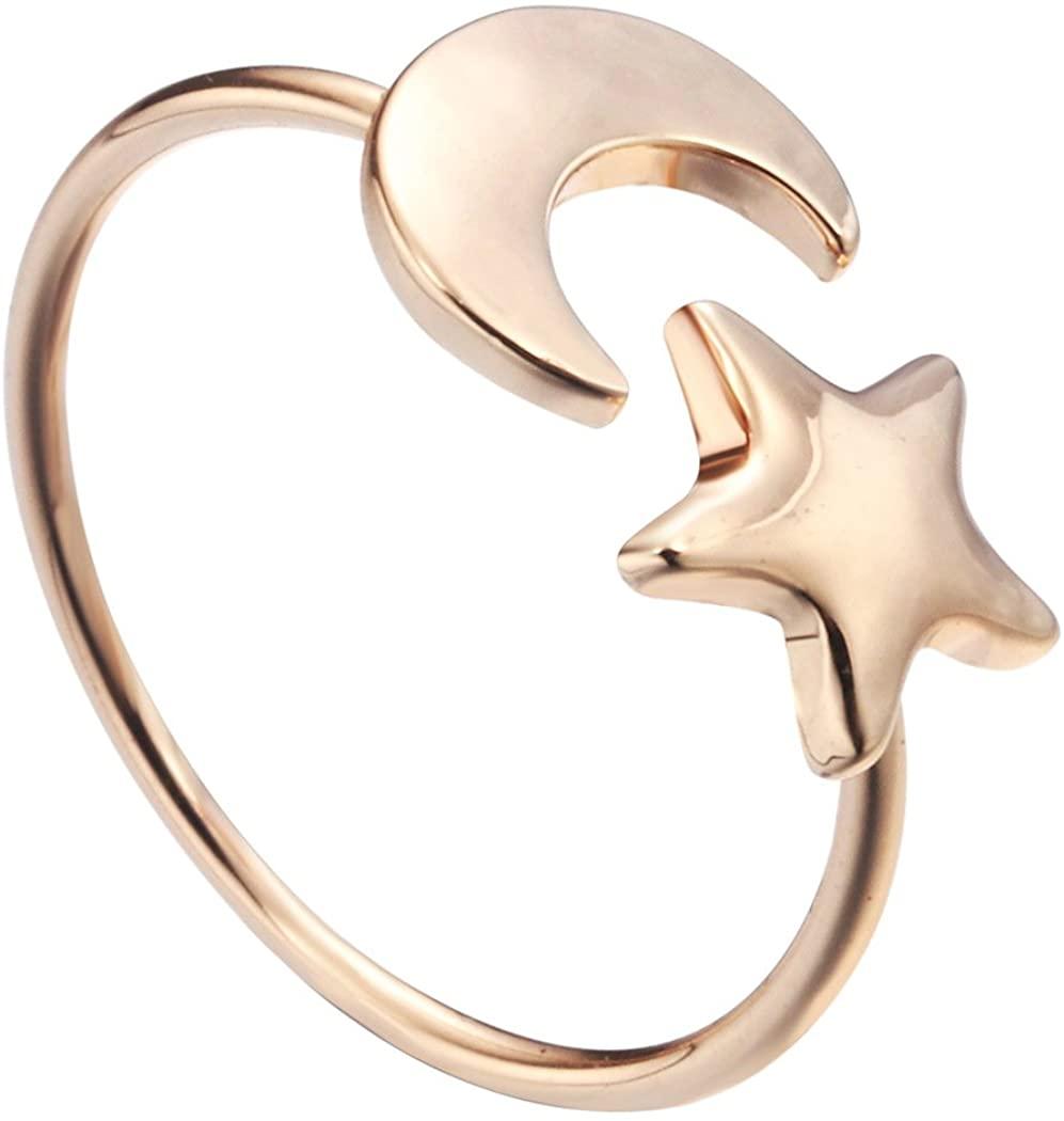 Eiffy Adjustable Crescent Moon Tiny Star Finger Ring Lovely Luna Half Moon Gift Knuckle Rings for Women Girls
