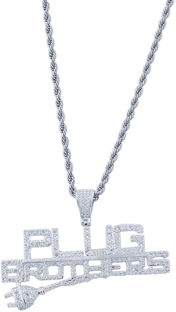 Nsitbbuery Hip Hop Night Club DJ Iced Out Letter Plug Tag Pendant Stainless Steel Chain Necklace