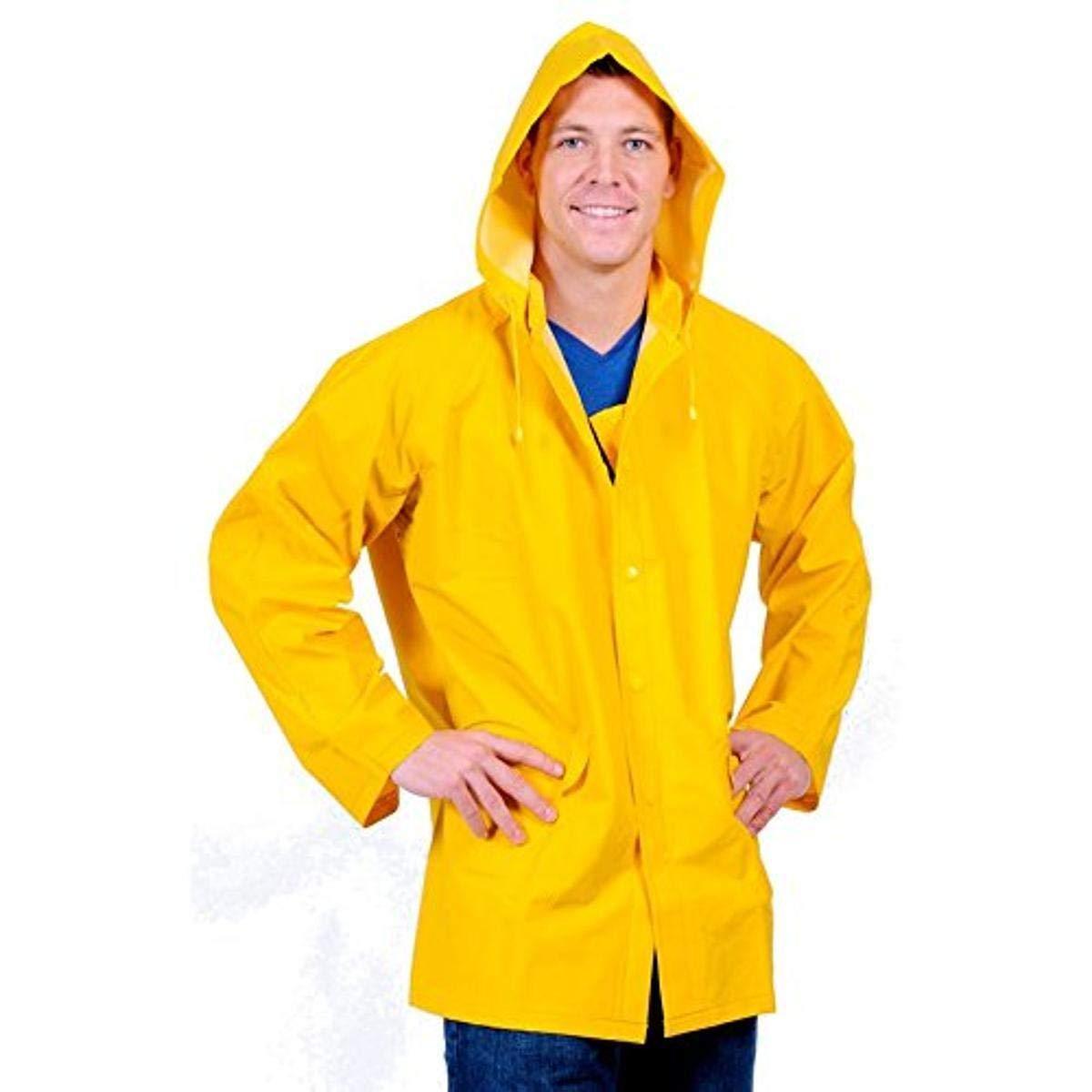 Galeton 7960-XL-YW Repel Rainwear 0.35mm PVC/Polyester Rain Jacket with Detachable Hood, XL, Yellow